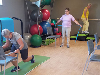 A functional fitness class taking place at the Thrive Wellness Center at Lakeside Village in Omaha, Nebraska.