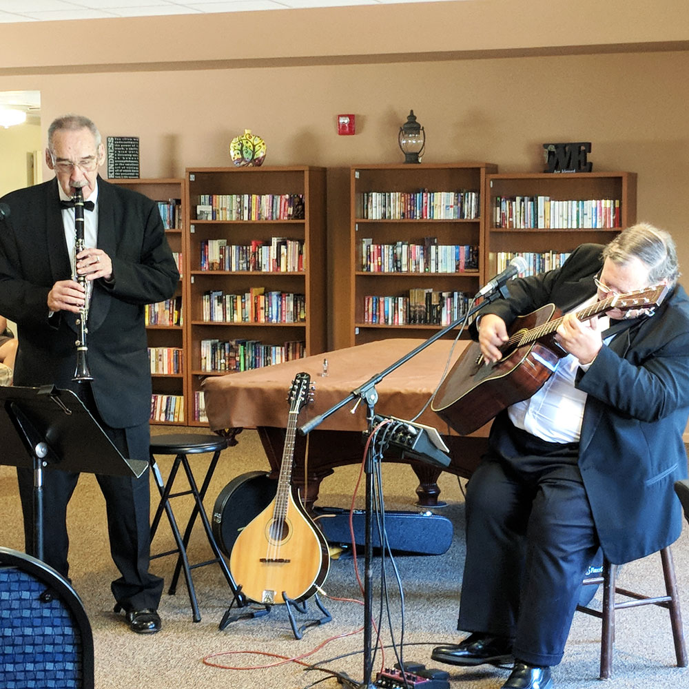 Musicians share their gift with residents from Trinity Courtyard senior living community in Omaha, Nebraska.