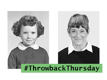 Side by side photos of a resident from Pacific Springs Village for a Throwback Thursday project