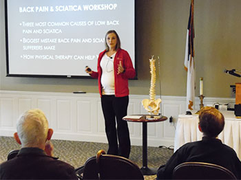 Nebraska Orthopedic gives a presentation about back pain to residents at Pacific Springs Village in Omaha, Nebraska.