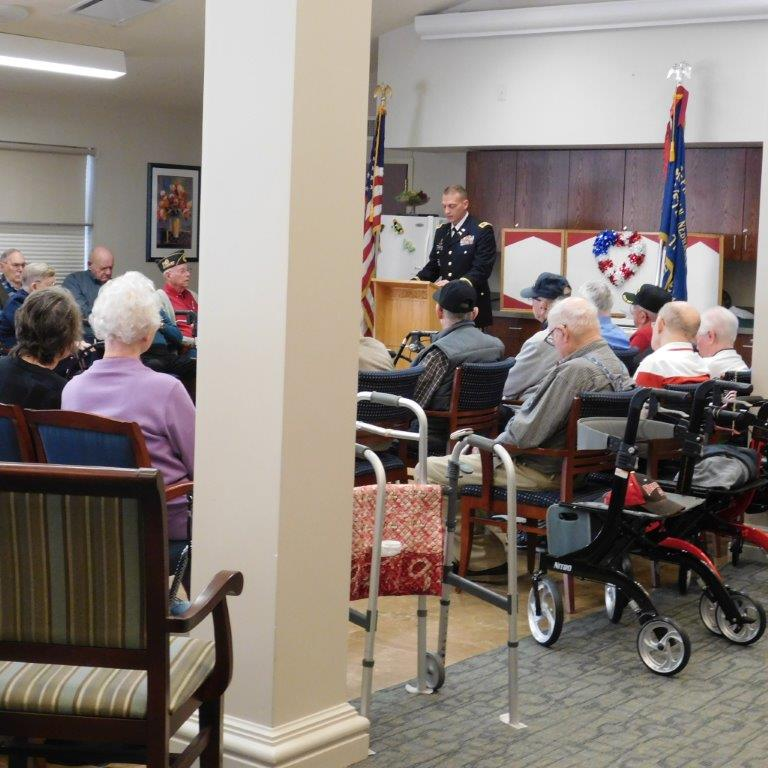 Clark Jeary hosts a special Veteran's Day Program for residents of the senior living community.