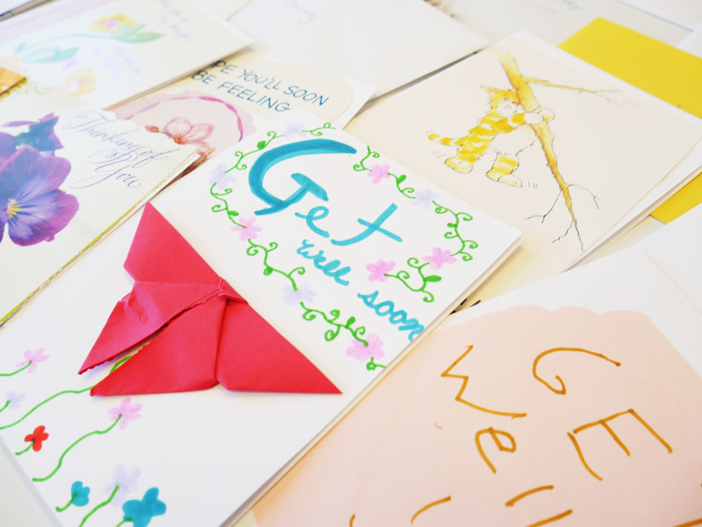 Over 120 cards are displayed as the outcome of a service project for the Dreamweaver Foundation. Immanuel senior living communities created letters of encouragement for a terminally ill senior to fulfill her dream.