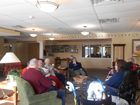 Residents at The Shores, an Immanuel senior living community, share warm drinks and conversation during a cold day in January