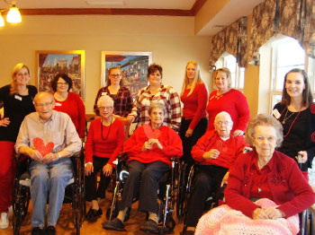 Immanuel Courtyard wears red to promote Heart Health Awareness.